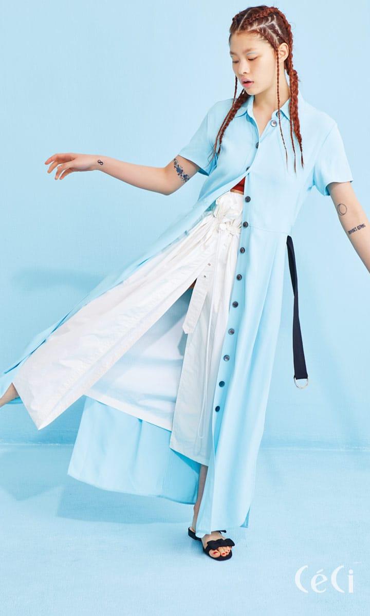 버튼 다운 드레스 가격미정 캘빈 클라인, 리본 장식 슬리퍼 2만5천원 H&M